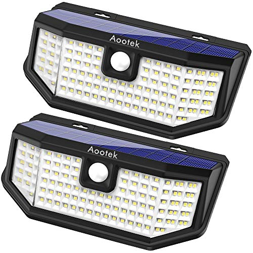 Aootek 120 Led Solar outdoor motion sensor lights upgraded Solar Panel to 15.3 in2 and 3 modes(Security/ Permanent On all night/ Smart brightness control )with IP65 Waterproof with Wide Angle(2pack) (Lights Lighting Outdoor Solar Porch)