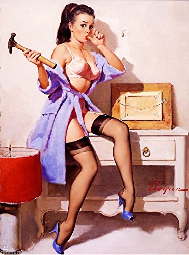 [1940s Pin-Up Girl Ouch, I smashed my Thumb! Picture Poster Print Art Pin Up] (1940s Pin Up Girl)