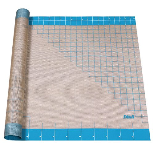 Silicone Pastry Mat with Measurements, 36 inch x 24 inch, Full Sticks To Countertop For Rolling Dough, Perfect Fondant Surface.