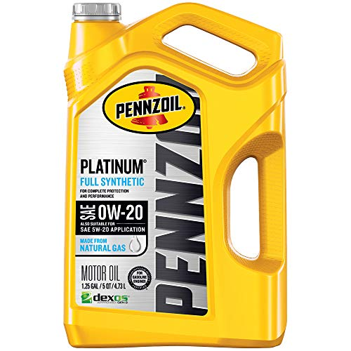Pennzoil Platinum Full Synthetic Motor Oil (SAE, SN) 0W-20, 5 Quart - Pack of 1 (Best Rated Motor Oil)