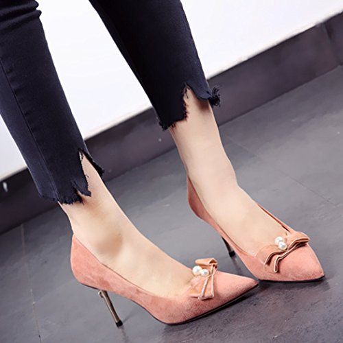 Powder Spring Sweet Leisure Elegant MDRW Bow Match Work 37 With Lady All Orange Heels High Shoes Suede Fine Tip 9Cm fTwTx0