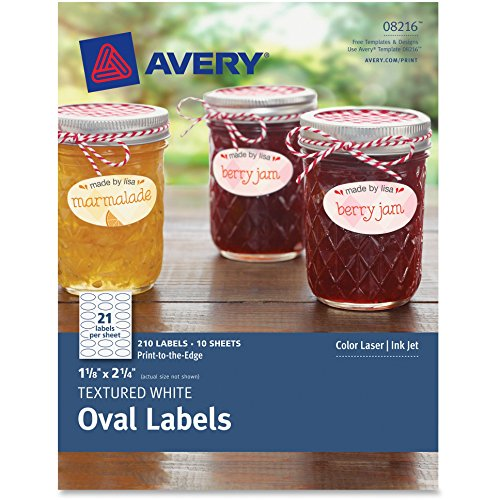 Avery 8216 Textured White Oval Labels 1-1/8