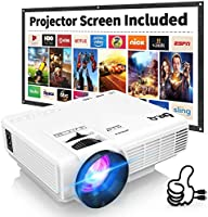 DR.Q HI-04 Projector with Projection Screen 1080P Full HD Supported, Upgraded 6000 Lumen Video Projector Compatible with...