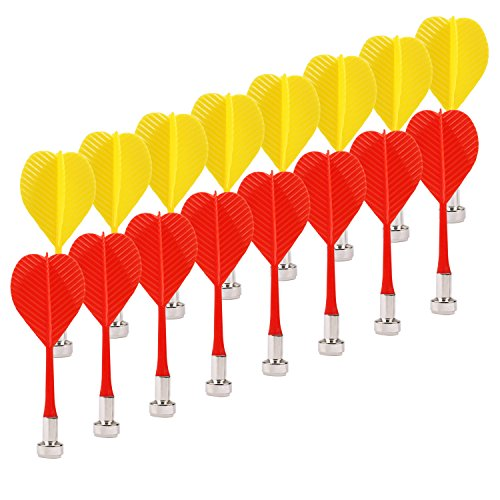 Exacoo Magnetic Dart, 16 Packs Safety Plastic Darts, Replacement Magnet Dart Set for Target Game Toys - Red Yellow ()