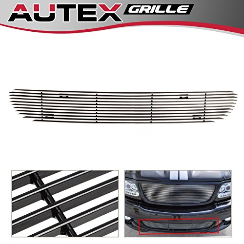 AUTEX Horizontal Billet Grille Insert Compatible with 1999-2003 Ford F150 Lightning Lower Bumper Grill F85384A ()