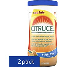 Citrucel Powder Sugar-Free Orange-Flavor Fiber Therapy for Occasional Constipation Relief, 16.9 ounce (Pack of 2)