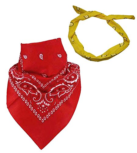 - Set Of 2-Red Paisley Bandanna and aFREE Yellow Paisley Wire Headband CoverYourHair