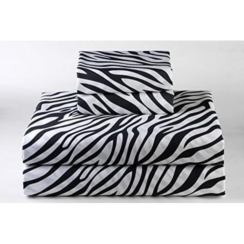 "Top King Size 6pcs Sheet Set 400-Thread-Count Egyptian Cotton 18"" Inch Deep Pocket, Zebra Print free shipping"
