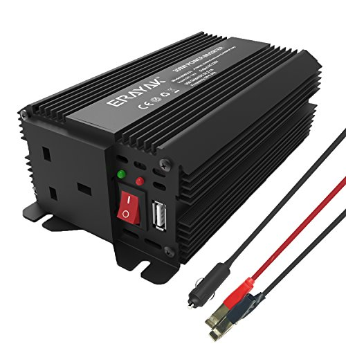 Erayak 300W Power Inverter TUV Certified, DC12V to AC 230V/240V Peak 600W...