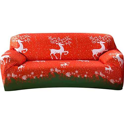 Love Elk - FORCHEER Christmas Home Decorations Stretch Couch Covers Sofa Slipcovers Cartoon Printed Loveseat Cover Armchair Furniture Protector (Christmas Elk,2 Seat for 135-170cm)