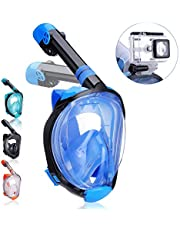 QingSong Full Face Snorkel Mask, Snorkeling Mask with Advanced Safety Breathing System, Give You A Natural & Safe Snorkeling Experience, 180 Degree Large View Dry Top Set Anti-Fog Anti-Leak for Adults & Kids
