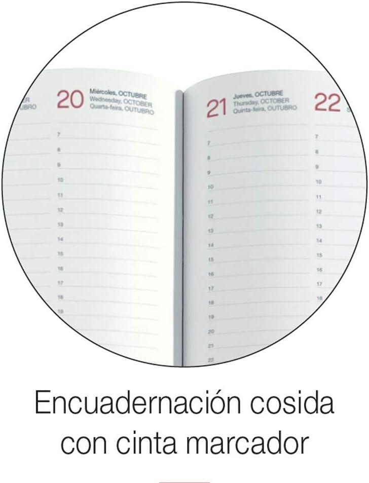 Gr/ö/ße 155 x 213 mm Rot Spanisch Tag Seite Papier 70 g Einband aus Kunstleder Jahresplaner 2021 Luxor Miquelrius