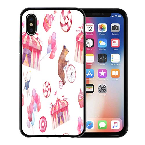 Emvency Phone Case for Apple iPhone Xs case,Watercolor Circus Air Balloons Sweet Donuts Party Cupcakes and Cartoon Animals Bear on Bicycle White for iPhone X Case,Rubber Border Protective Case,Black