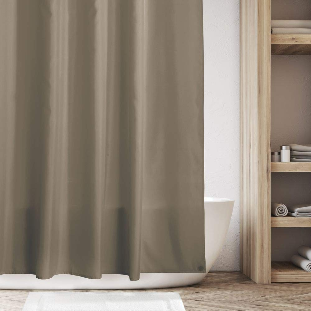 72 x 96 Weighted Bottom Hem for Bathroom Shower and Bathtub Natural//Ivory Mildew Resistant Heavy Duty Flat Weave Fabric Shower Curtain mDesign Extra Long Water Repellent Liner