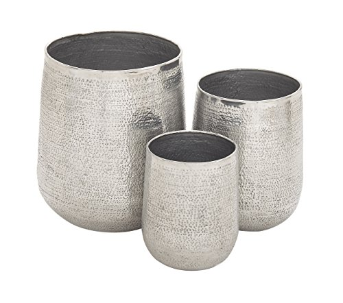 Deco 79 22135 Large Round Silver Hammered Metal Outdoor/Indoor Planters | Set of 3