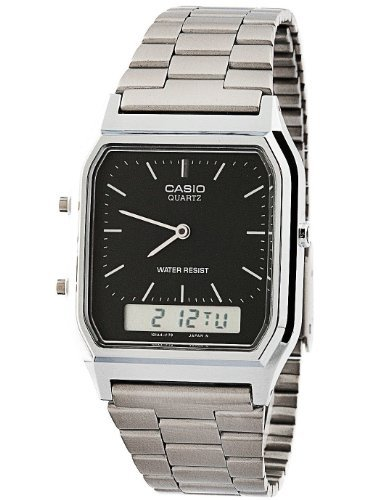 Casio AQ-230A-1D Casio Silver & Black Dual Time Watch - Silver / Silver Digit / Black / One Size (Casio Mp3 Player)