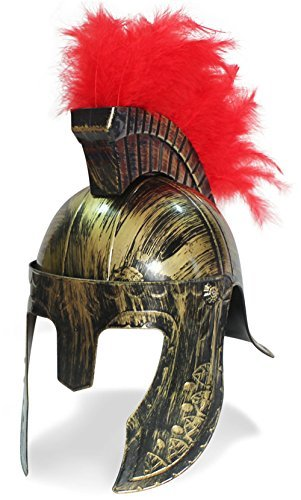 [OliaDesign 399 Roman Helmet with Red Feathers Gladiator, Gold, One Size] (Holloween Costumes Designs)