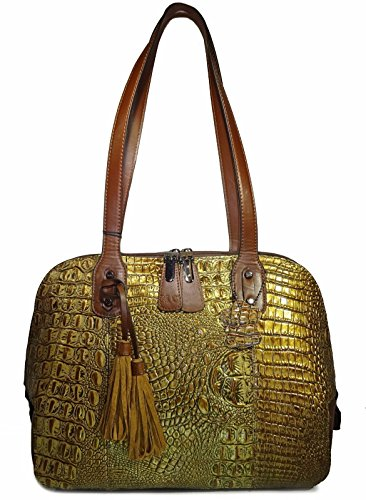 M.C. Handbags Croc Embossed Genuine Leather Shoulder Dome Tote- Bronze