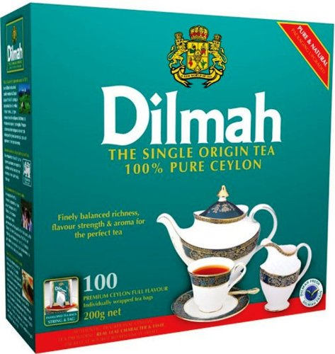 Dilmah Premium Ceylon Tea, 100-Count Individually Foil Wrapped Teabags (Pack of 2)