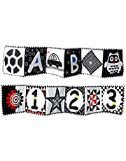 YPeng High Contrast Baby Toys, Soft Double-Sided Cloth Black and White Baby Books Teethers Educational Interactive Tummy Time Toys Gifts for Newborn Infant