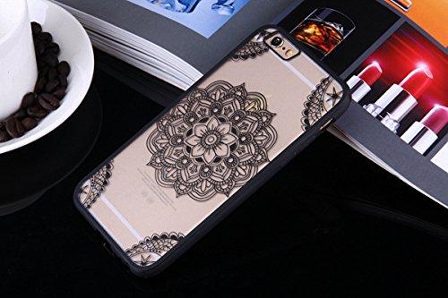 König-Shop Handy Hülle Mandala für Apple iPhone 6 / 6s Design Case Schutzhülle Motiv Indianische Spitze Cover Silikon Tasche Bumper Schwarz