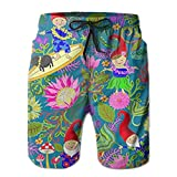 2018 pants New Hawaiian Garden Gnomes Men's Beach Pants,Shorts Beach Shorts Swim Trunks