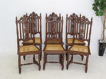 6 Stühle Lehnstühle Gründerzeit Um 1880 Aus Eiche Massiv Mit Geflecht (6396)