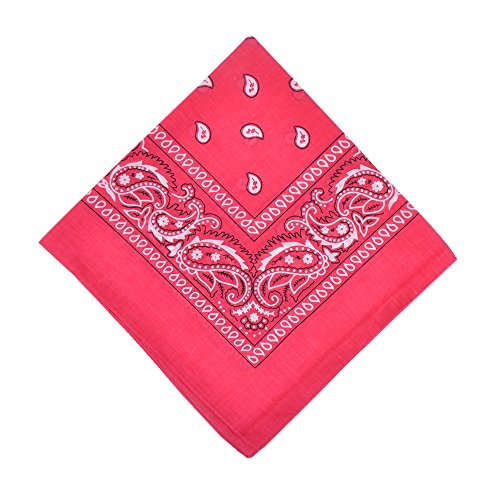 6 Pack Cotton Bandanas Multipurpose Headbands for Daily Use,Hot Pink ()
