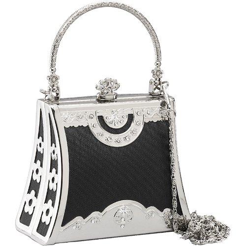 UPC 100000865095, Coloriffics Handbags Small Silver Frame with Rhinestone - Black