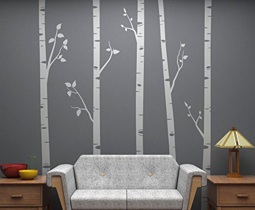 Set of 5 Birch Trees with Branches, 8 Feet Tall EACH! Full Wall Birch Tree Scape - Removable Vinyl Decals - Stickers for Home Decorating and Interior Design - Light Grey