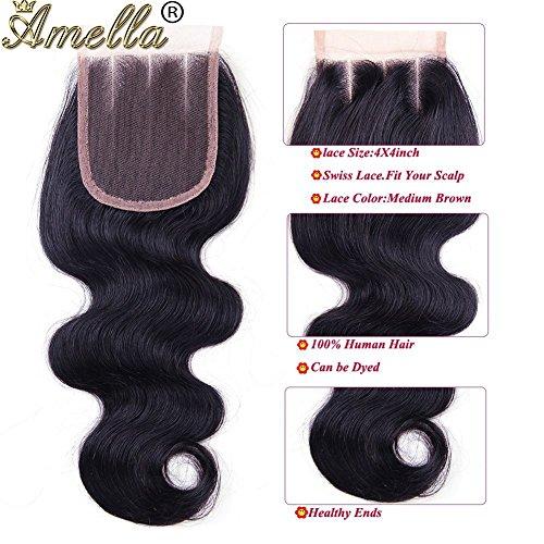 Amella Hair Brazilian Virgin Body Wave Hair 3 Bundles with Three Part Closure (14 16 18+12,Natural Black) 8A 100% Unprocessed Brazilian Body Wave Human Hair Weft with Lace Closure Brazilian Body Wave by Amella (Image #3)