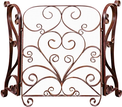 Uttermost Daymeion Fireplace Screen 1.375 x 49.625 x 33.25, Cocoa Brown
