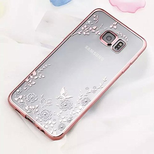 (Samsung Galaxy S6 Case,Inspirationc [Secret Garden] Rose Gold and White TPU Plating Clear Shiny Cover Series for Samsung Galaxy S6--Swarovski)