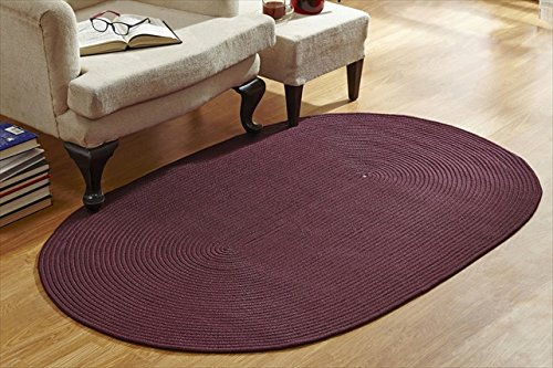 Better Trends / Pan Overseas Country Solid Braided Rug, 6' Round, Burgundy Burgundy Solids Braided Rug