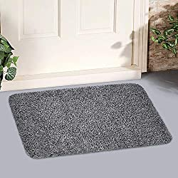 "Indoor Doormat Super Absorbs Mud 18""x28"" Latex Backing Non Slip Door Mat for Small Front Door Inside Floor Dirt Trapper Mats Cotton Entrance Rug Shoes Scraper Machine Washable Carpet Black White Fiber"