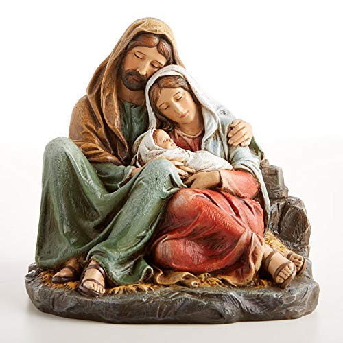 "Sleeping Holy Family 6"" Standing Resin Statue. Beautiful Figurine of Blessed Mother Mary and St Joseph Holding Infant Baby Jesus Christ in their arms (Includes Laminated Prayer Card)"