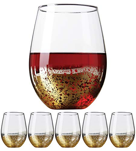 Gold Rimmed Wine Glasses (Gold Rimmed Stemless Wine Glasses, 18oz - Set of 6 Elegant Cocktail Tumblers - Premium Glass Drinking Cups - Deluxe Gift Pack - Dishwasher Safe - by Kitchen)