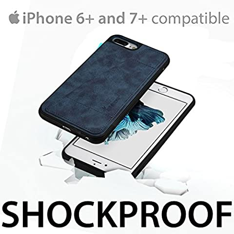 iSkipper iPhone Wallet Protective Case, Shockproof Hybrid, PC & TPU, with PU Back Leather - With RFID Protection Technology - Universal For iPhone 6 Plus, 7 Plus - 1 Credit Card Slot - Navy (Platinum Brand Iphone 6 Plus Case)