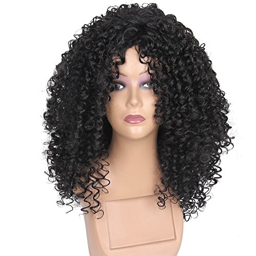 Daisylove HAIR Synthetic Kinky Curly Hair Wigs for African American Woman Short Afro Hair Jet Black Heat Resistance Fiber 18