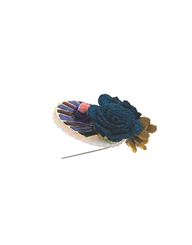 Anuradha Art Blue Colour Wonderful Classy Styled with Feather Wonderful Sari//Saree Pin for Women//Girls