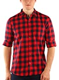 Zotory Mens Casual Full Sleeve Cotton Checkered Shirts Red&Black Color (126)