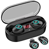 True Wireless Earbuds 16H Playtime Bluetooth Headphones 5.0 Mini Stereo Headset with Microphone IPX5 Sweatproof Hi-Fi Sound Volume Control in Ear Sport Earphones with Portable Charging Box/Case