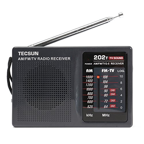 QOJA dc 3v-6v tecsun mini portable radio r-202t fm/am 64-108mhz by QOJA