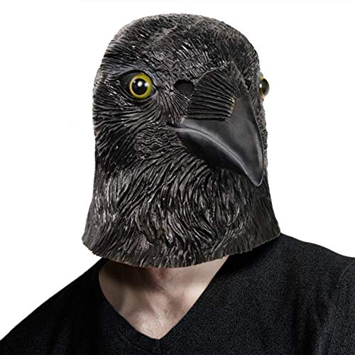 Sinister Raven Mask Halloween Costume Props Latex Rubber Bird Mask Black Crow]()