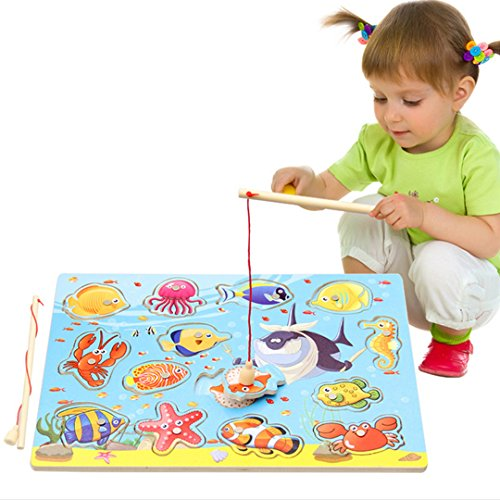 Baby Magnetic Fishing Game Board Wooden Jigsaw Puzzle Educational Toys - 1