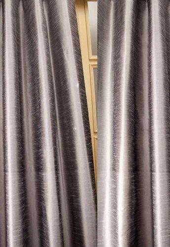 Metallic tone raw faux silk curtain/panel/drape (Silver Gray, 52