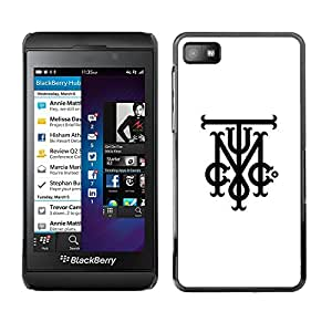 SKCASE Center / Funda Carcasa - Tmi C Iniciales Cartas Blanco Negro;;;;;;;; - Blackberry Z10