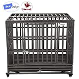 SMONTER 42″ Heavy Duty Dog Crate Strong Metal Pet Kennel Playpen with Two Prevent Escape Lock, Large Dogs Cage with Wheels, Dark Silver …