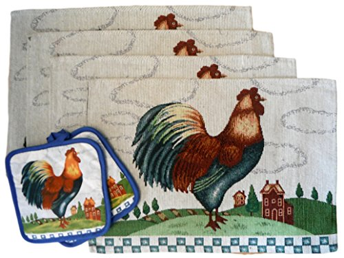 Country Rooster Placemats Potholder Blue product image
