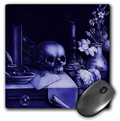 3dRose LLC 8 x 8 x 0.25 Inches Mouse Pad, Vanitas Skull, Skull, Purple, Table, Macarbe, Halloween, Deep Purple (mp_46710_1)